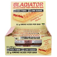 15x 60g Olimp Gladiator High Protein Bars (Strawberry Cake)