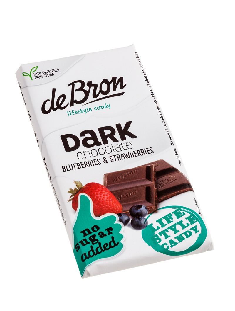 De Bron Stevia Schokolade 85g Zartbitterschokolade mit Blaubeeren und Erdbeer...