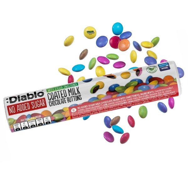 Diablo No Sugar Added Coated Milk Chocolate Buttons