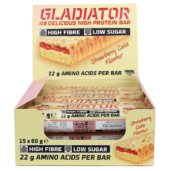 15x 60g Olimp Gladiator High Protein Bars (Strawberry Cake)