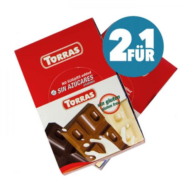 Torras zuckerfreie Schokoriegel Vollmilchschokolade (2-für-1) Sparpaket