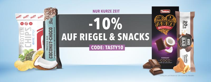 Spare 10% Rabatt auf Riegel und Snacks